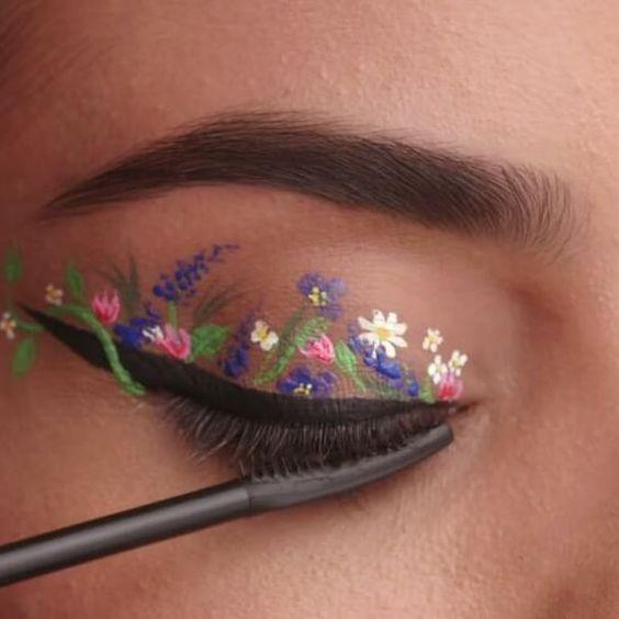 kẻ mắt họa tiết hoa, ke mat hoa tiet hoa