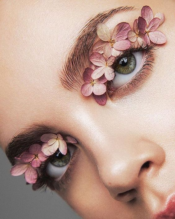 make up look book với hoa, make up look book voi hoa